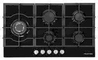 Black Glass 75cm Wide, 5 Burner Gas Hob