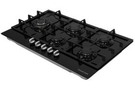 Black Glass 86cm Wide, 5 Burner Gas Hob
