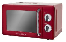 Retro 17 Litre Ribbon Red Manual Microwave