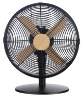 "12"" Metal Fan Black with Wood Effect Trim"