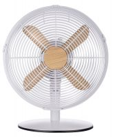 "12"" Metal Desk Fan - Wood & White"