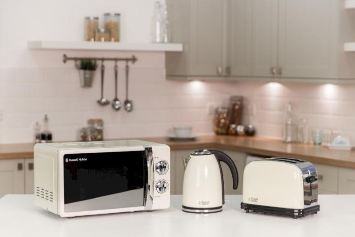 17 Litre Cream Microwave, Toaster and Kettle Bundle